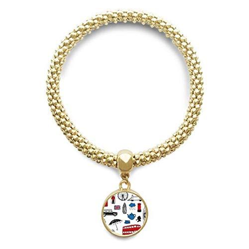 DIYthinker Womens Londen grote Ben Booth regen brievenbus gouden armband ronde hanger sieraden ketting