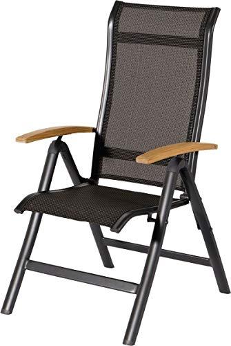 Neo-Therm 4er Set Hartman Alice Multipositionssessel in Xerix-Black, solides Aluminiumgestell, Sitzfläche aus hochwertiger Textilene, Rückenlehne verstellbar, Teakholz-Armlehne, wetterfest