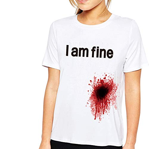 I'm Fine T Shirt Graphic Novedad Sarcastic Zombie Funny Print T-Shirt para Mujer