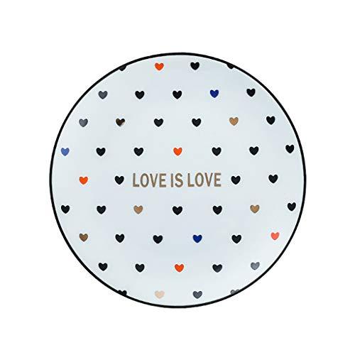 Assiette Couple Love Couverts Petit Déjeuner Blanc Western Steak Plate 6 Pouces Maison en Céramique Grand Moyen Et Petit (Color : Blanc, Size : 20.5 * 2cm)