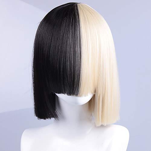 jiafa Sia mit der weiblichen Perücke Schwarz und Gold Doppelzauber Yin und Yang Bobo Kopf Qi Liu zweifarbig kurzes glattes Haar setzen europäischen und amerikanischen Stil