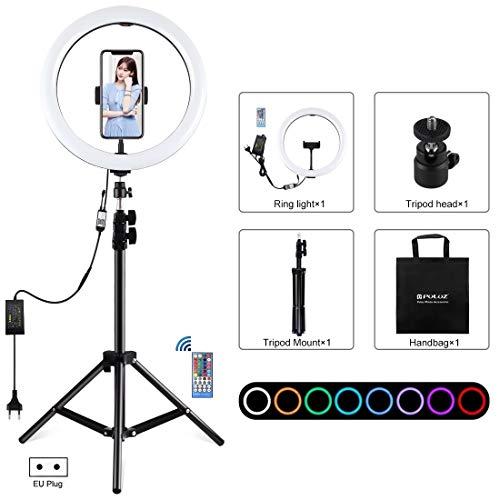 12 pulgadas de luz RGB 1,1 m Montaje de trípode regulable Anillo LED vlogging selfie Fotografía de vídeo en directo de las luces Kits de difusión con zapata del trípode Ball Head & Teléfono abrazadera