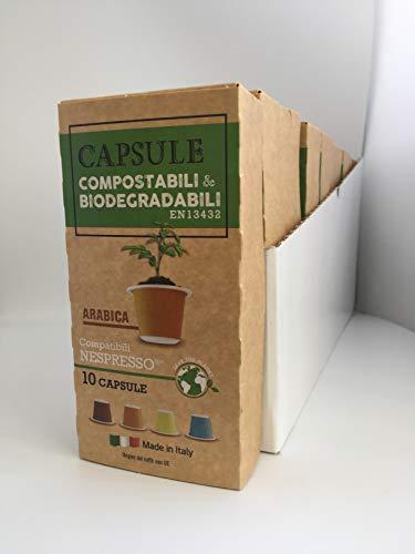 Capsule compatibili Nespresso Compostabili e Biodegradabili 100 capsule miscela Arabica