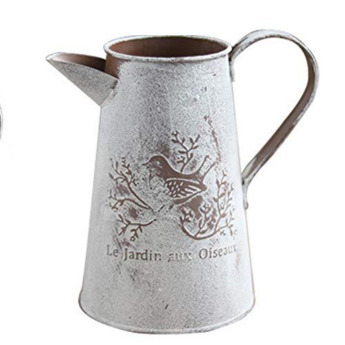 Cubo de flores para decoración de manualidades con soporte para jarrones de riego, accesorios de hoja de hierro para casa tienda de jardín vintage estilo pastoral (Tall)