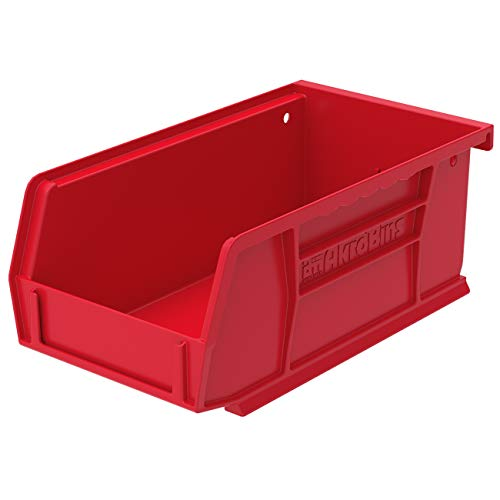 Akro-Mils 30220 AkroBins Plastic Storage Bin Hanging Stacking Containers, (7-Inch x 4-Inch x 3-Inch), Red, (24-Pack)