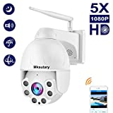 Camera Surveillance WiFi Exterieure, Dome Camera IP sans Fil HD 1080P 360° avec 5X Zoom IR-Cut, Audio bidirectionnel, Vision Nocturne, IP66 Waterproof, Alerte de Détection de Mouvement