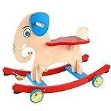 Rocking Horse Mecedora de madera maciza para bebé troyano de bebé de madera para niños juguetes educativos 69,6 x 34,8 x 49,5 cm Rollsnownow