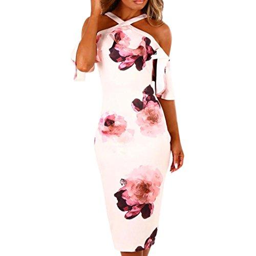 Frauen Blumenmuster Kreuz Off Schulter Rüsche Halskrause Figurbetont Midi Abend Party Kleid Sommer Sundress UK 14 weiß