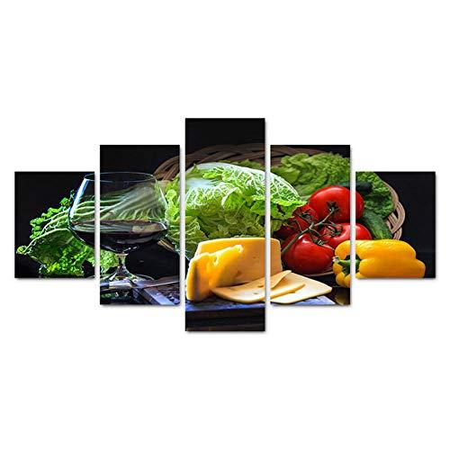 Wslin canvas afdrukken 5 stuks canvas kunst verse groente kaas fruit wijn muurschilderingen voor keuken restaurant wooncultuur stilleven schilderij afdrukken op canvas 200X100cm