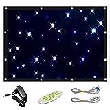 Cortina de estrellas LED azul y blanco, tela de fondo para DJ y escenario, mando a distancia, empalmable, 9 modos de trabajo, 56 ledes, plegable, para niños, Navidad, fiesta de cumpleaños