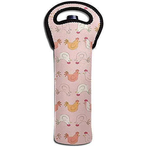 Lustige rosa Hahn-Wein-Taschen-Tragetaschen-Geldbörse für Champagner, Wein, Wasserflaschen 15 x 38 cm