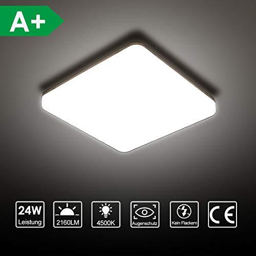 LED Deckenleuchte, SUNZOS 24W 4500K 2160LM Deckenlampe für Schlafzimmer, Küche, Flur, Balkon, Neutralweiß, 180×180×40 mm