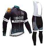 ADKE Completo Abbigliamento Ciclismo da Uomo, Invernale Tuta Maglia Ciclismo Maniche Lunga + Pantaloni Lunghi da Bicicletta con Gel Pad 5D