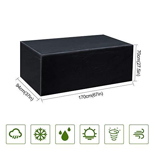 Gurkkst Funda Protectora para Muebles de jardín Funda Muebles Exterior Impermeable Anti-UV Protección Cubierta de Muebles de Mesas Oxford Negro (170x 94x 70cm)