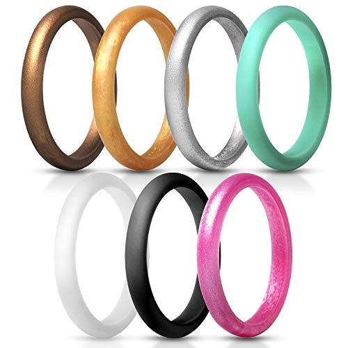 JewelryWe Schmuck 7 PCS Silikon Ehering für Frauen, 2.7mm Gummi Hochzeit Bands Gummibänder Ring für Sport und Outdoor, 7 Farben Set, Größe 57