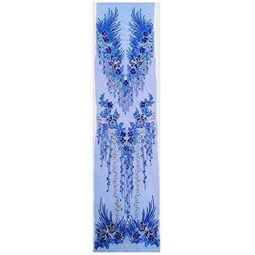 3D lace applique set, flower patches, appliqué, French diamond beads, ideal for handicrafts, 3-in-1, 130 cm x 30 cm, A15 royal blue
