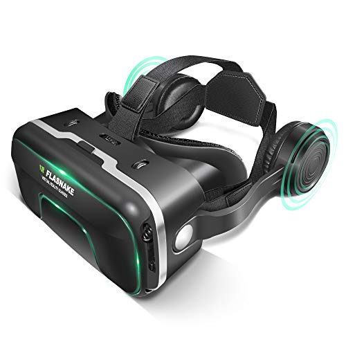 VR Headset Virtual Reality Headset, FLASNAKE 3D VR Glasses VR Goggles for 3D Movies & VR Games with Stereo Headphones, Adjustable Lenses & Headstraps - Compatible with 4.7'-6.0' IOS/Android Smartphone