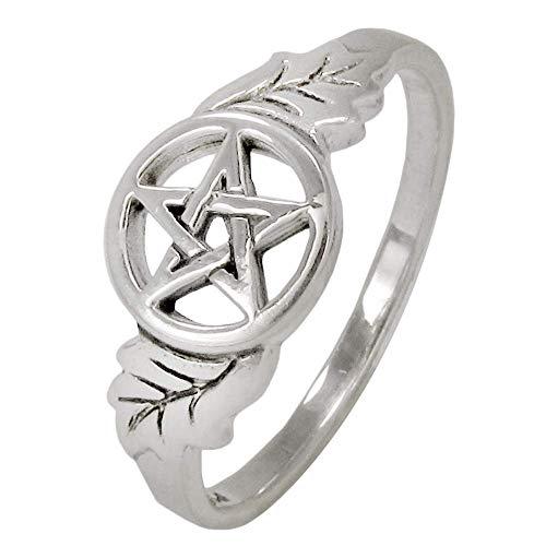 Moonlight Mysteries Sterling Silver Oak Leaf Pentacle Ring Size 7