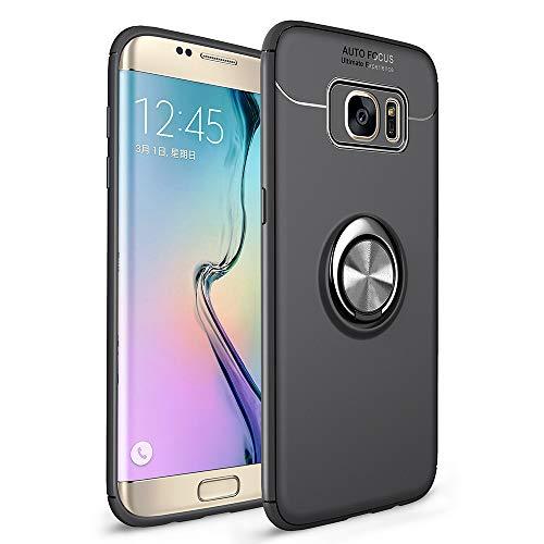 Avalri Funda Galaxy S7 Edge, Shockproof Anti-rasguños Ultra Delgado TPU con 360 Grados Giratorio Anillo Kickstand Case [Soporte Magnético Car Mount Function] para Samsung Galaxy S7 Edge (Negro)