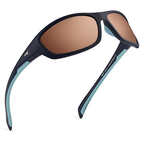 KastKing Hiwassee Polarized Sport Sunglasses for Men and Women, Matte Midnight Blue Frame, Copper Base Steel Mirror