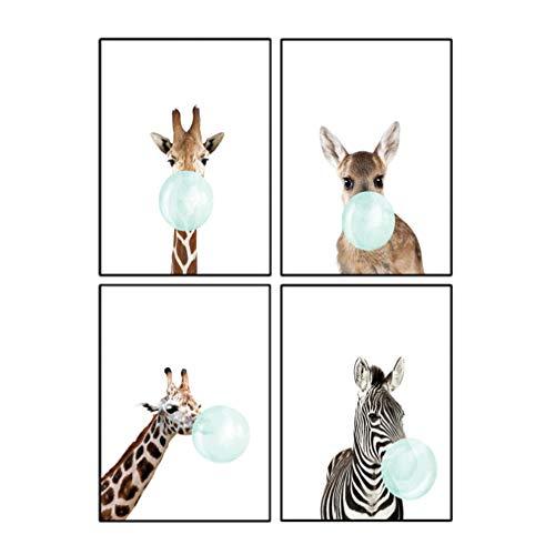 VOSAREA 4pcs Kawaii Animal Jirafa Poster de Impresion de Arte Pintura de Nórdico Pintura Decoracion de Habitacion