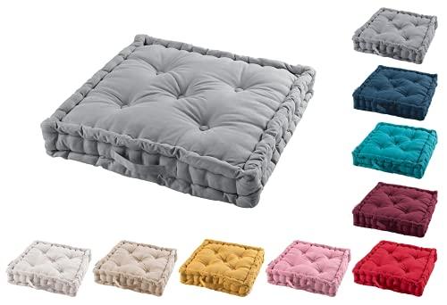 TIENDAEURASIA® Cojines de Suelo - 100% Algodón Lisa - Ideal para sillas, Bancos, palets, Suelos - Uso Interior y Exterior (Gris)