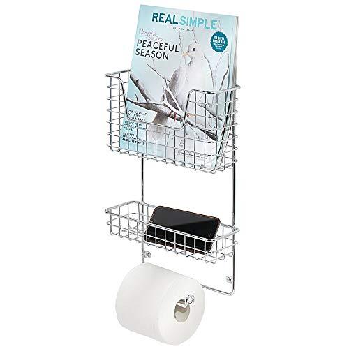 mDesign Organizador de baño – Estantería de metal con portarrollos de baño y revistero de pared – Estantes para baño para guardar toallitas húmedas, toallas, etc. – plateado
