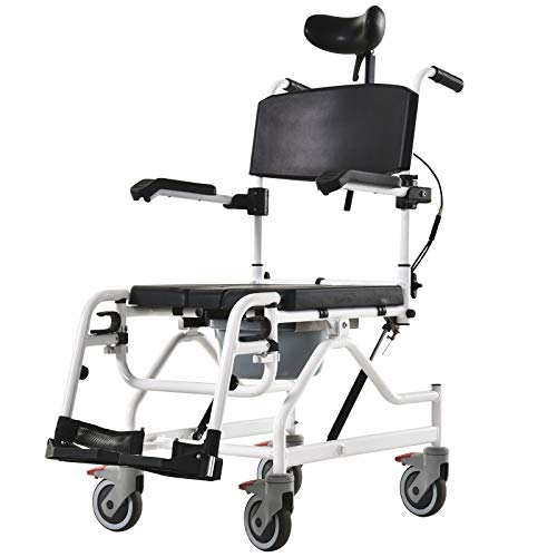 HOMCOM Personal Mobility Assist Bedside Commode Toilet Chair with 30° Reclining Backrest & Four Rolling Wheels