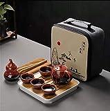 LLDKA Cerámica Juego de té de Kungfu, portátil de Viaje Tetera de cerámica, con la Tetera, de té, Bandeja de té, pote del té y Bolsa de Almacenamiento,Rojo