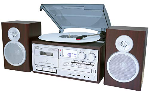 Boytone BT-28SPS Bluetooth Classic Style Record Player Turntable with AM/FM Radio, Cassette Player, CD Player, 2 Separate Stereo Speakers, Record Vinyl, Radio, Cassette to MP3 SD Slot USB, AUX Silver