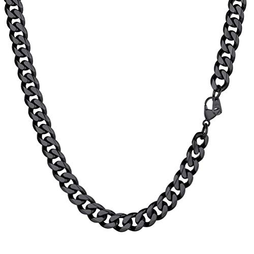 PROSTEEL Black Curb Chain 9mm 20 inch Stainless Steel Boys Cuban Necklace Accessories for Men