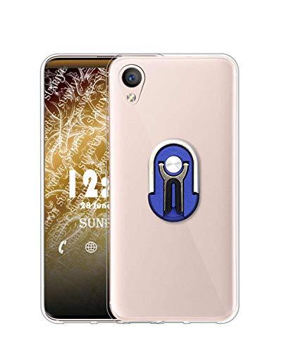 Sunrive Funda para Sony Xperia Z5 Premium, Soporte Teléfono Coche Silicona Transparente Gel Carcasa Case Bumper Anti-Arañazos Espalda Cover Anillo Kickstand 360 Grados Giratorio(Azul)
