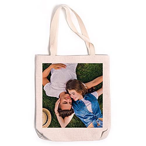 Fotoprix Bolsa de tela personalizada con foto y texto | Bolsa de lino | Bolso tote personalizable