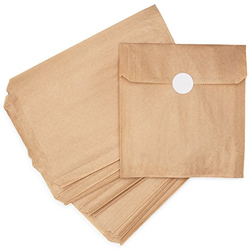Natural Kraft Brown Paper Snack Sandwich Bags + White Stickers for Sealing. 100% Chlorine-Free, Unbleached, Eco Alternative to Plastic Fold Top/Zippered Bags. Made in USA. 125 Sleeves/Pack