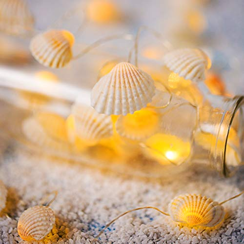 Battery Operated String Lights with Timer and Remote, 14ft 40 LED,Natural Beach Seashell,Waterproof Decorative 8 Modes Ocean Lights for Bedroom,Parties,Halloween,Thanksgiving,Christmas(Warm White)