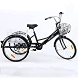 Triciclo para adultos bicicleta Triciclo Adulto 24 Pulgadas Para Adultos Bicicleta De Altura De Altura De Carbono 3 Bicicletas De Rueda Con Cesta De Compras Tres Ruedas Crucero Bicicleta Para Personas