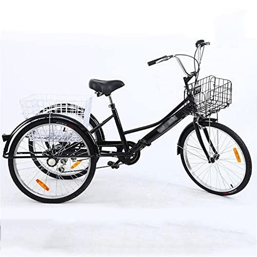 Triciclo para adultos Triciclo Adulto 24 Pulgadas Para Adultos Bicicleta De Altura De Altura De Carbono 3 Bicicletas De Rueda Con Cesta De Compras Tres Ruedas Crucero Bicicleta Para Personas Mayores,