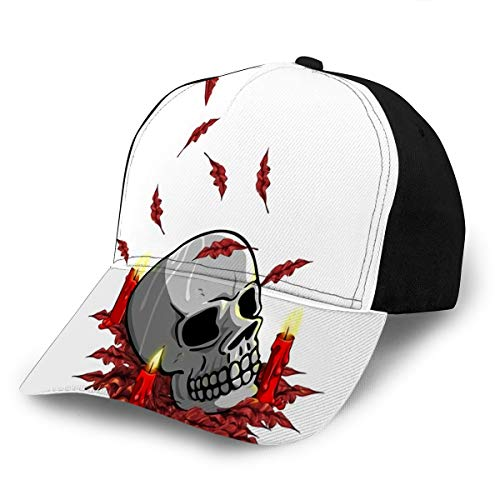 Adjustable Baseball Cap Hats Candles Around Skull Drawing All Items Are Unique