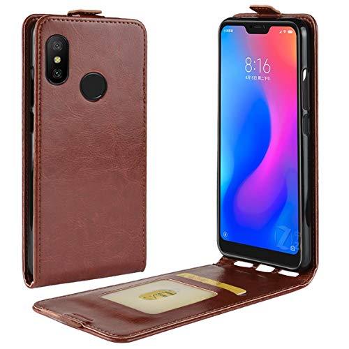 HualuBro Xiaomi Mi A2 Lite Hülle, Premium PU Leder Brieftasche Schutzhülle HandyHülle [Magnetic Closure] Handytasche Flip Hülle Cover für Xiaomi Mi A2 Lite Tasche (Braun)