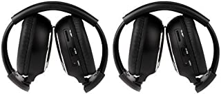 Sportsmax 2 Pack of Two Channel Folding Universal Rear Entertainment System Infrared Headphones Wireless IR DVD Player Head Phones for in Car TV Video Audio Listening