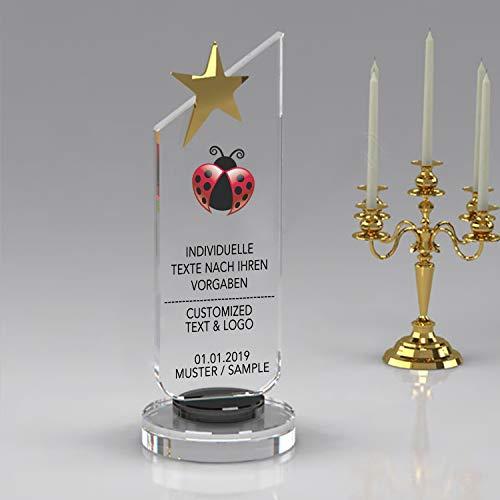 Nurdanil Trofeo de Vidrio con su Texto Personal Grabado Individualmente, Logotipo o Imagen, Copa de Regalo, Regalo a Juego, NUR-4540