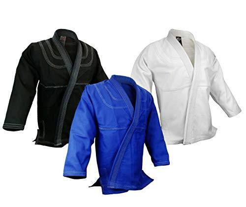 BJJ Jiu Jitsu Gi Jacket Top Only, Jiu Jitsu Kimono 100% Cotton Preshrunk, Single Weave (Black, A2)