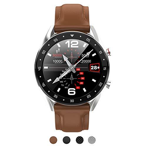 BINDEN Smartwatch L7 Elegante Deportivo IP68 Pantalla Táctil Redonda Compatible con iOS Android Cuero Café