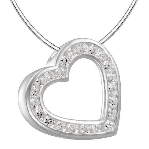 Vinani Anhänger Herz Zirkonia weiß mit Schlangenkette 50 cm Sterling Silber 925 Kette Italien AHW50