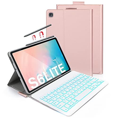 ASHU Custodia con Tastiera per Samsung Galaxy Tab S6 Lite 10.4', Tastiera Retroilluminata a 7 Colori,Rimovibile, Layout QWERTY Italiano, Cover Etui e TPU per Samsung SM-P610/P615, Oro Rosa