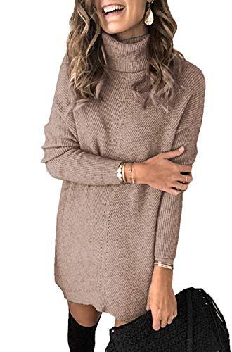 Damen Gestricktes Pulloverkleid Hoher Kragen Einfarbig A-Linie Freizeitkleidung Strickkleid (L, Khaki)