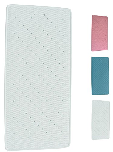 MSV 140202 Tapis Fond de Bain Caoutchouc + Carbonate de Calcium Blanc 75 x 35 x 0,1 cm