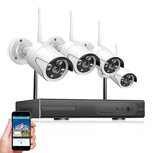 Vigilancia Exterior Vigilabebés WiFi Cámara Indoor, 1080P, 4 Unidades, Con Cámara WiFi Con Visión Nocturna, Detección De Movimiento, Almacenamiento En La Nube, 2 Vías De Audio, Cámara De