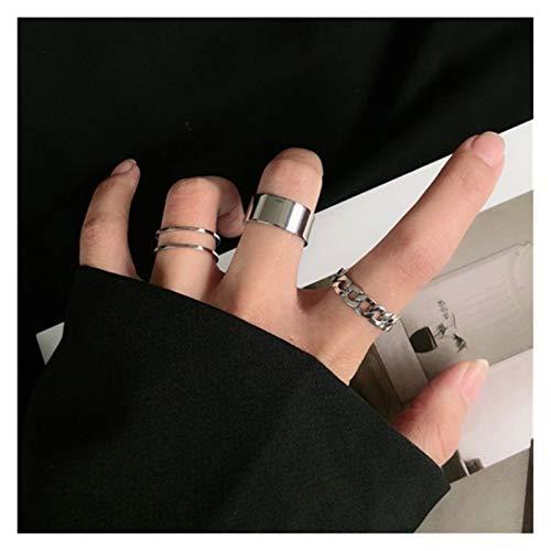 XDDT Anillo de boda hueco ajustable tamaño anillo conjunto para la mujer banda de la boda joyería hip hop rock metal cobre círculo geométrica eternidad anillo