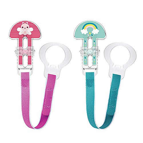 MAM I Love Daddy Design Collection Pacifier Clip 2Pack Clips for Pacifiers with Fasteners and Flexible Rings Baby Pacifier Clips for Girls Designs May Vary